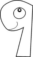 Number 9 Printable Coloring Page Worksheet for Kids
