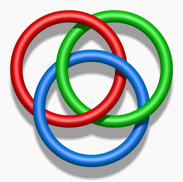 Borromean rings are an optical illusion featuring an arrangement of three colored rings that can't physically be connected in such a way.