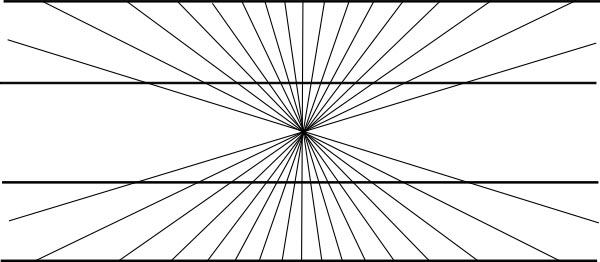 The lines coming from the center of this image are doing something strange to the horizontal lines, are they actually curved or are they really straight?