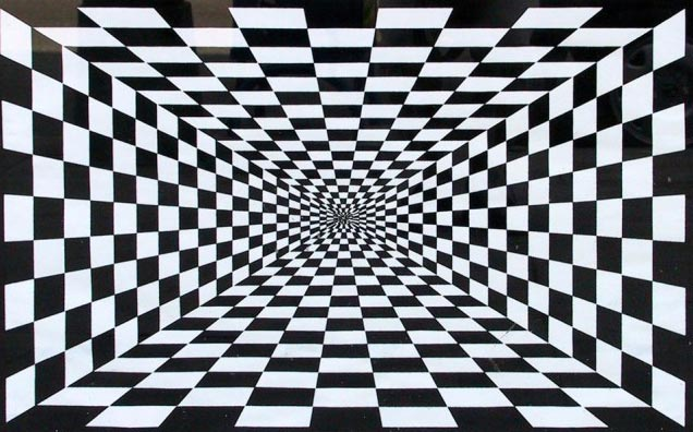 While you're only looking at a flat image on a flat screen, this picture gives the illusion of depth thanks to its checkered black and white layout.