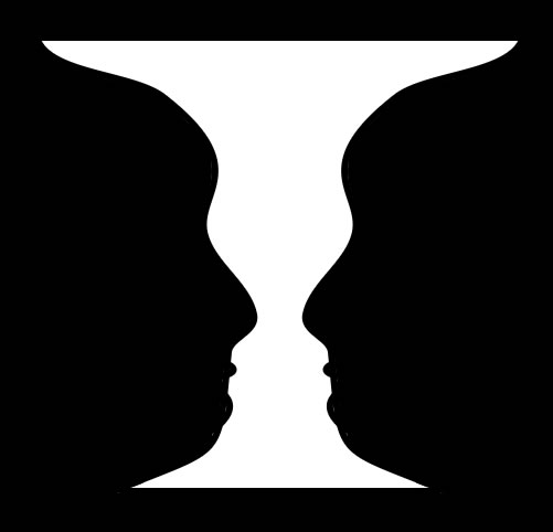 Take a look at this classic optical illusion, what do you see? Two faces in profile or a white vase?