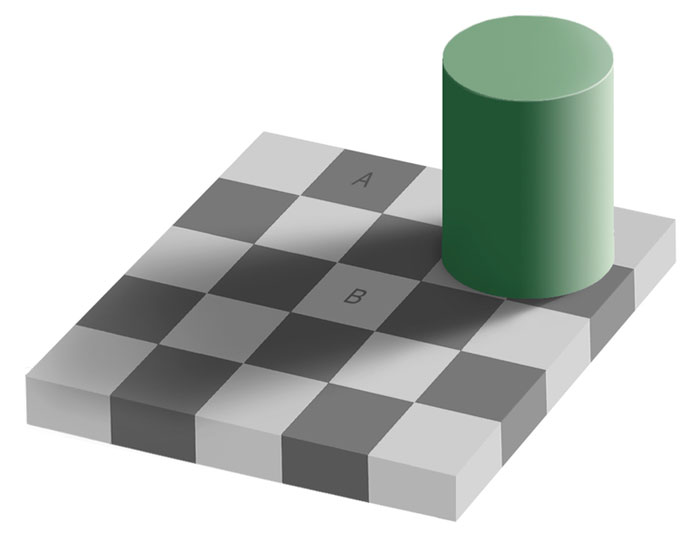 Square 'A' is obviously darker than square 'B' right? Wrong, while it may seem hard to believe, the two are the exact same shade of gray, it's another case of an optical illusion playing tricks on the mind.