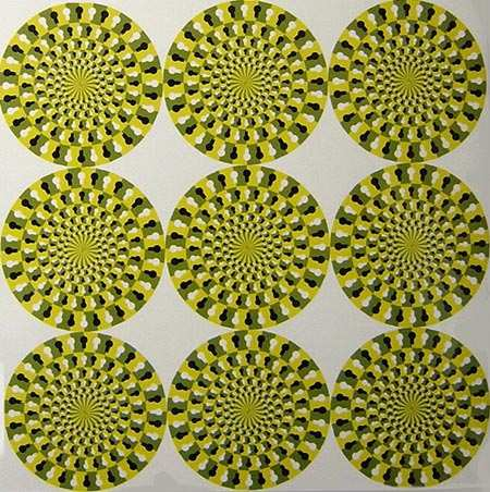 The nine wheels that make up this optical illusion appear to be in motion when you look at them.