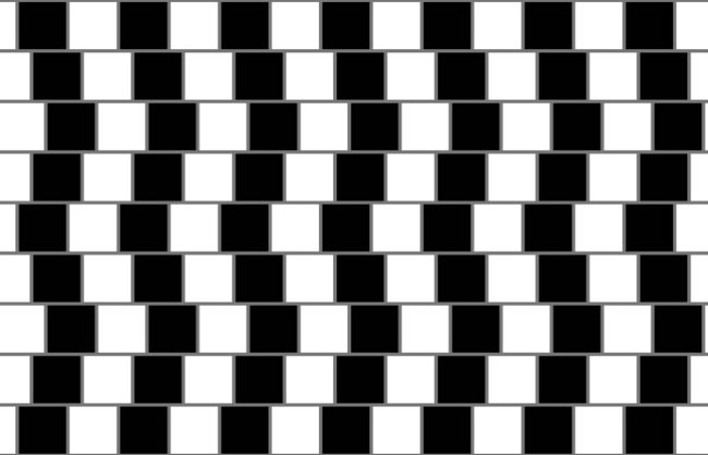 While the lines in this optical illusion appear to be bent, they are in fact perfectly parallel horizontal lines.