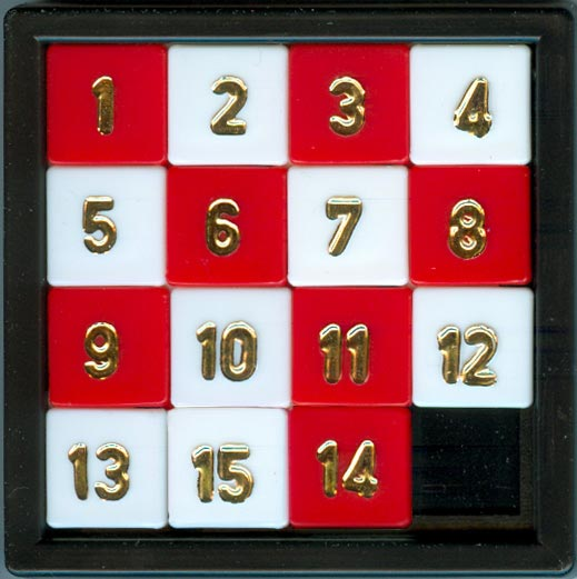 This picture shows a classic 15 squares puzzle game that you might find hanging on someone's key chain.