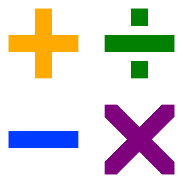 This picture shows four common arithmetic symbols, multiplication, division, addition and subtraction.