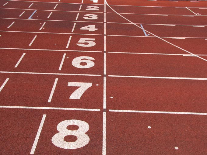 This picture shows the lane numbers of an athletics track.