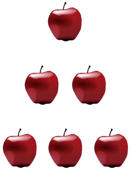 This apple pyramid picture will help you count apples. There is 1 apple placed on the first level, 2 on the second and 3 on the third.