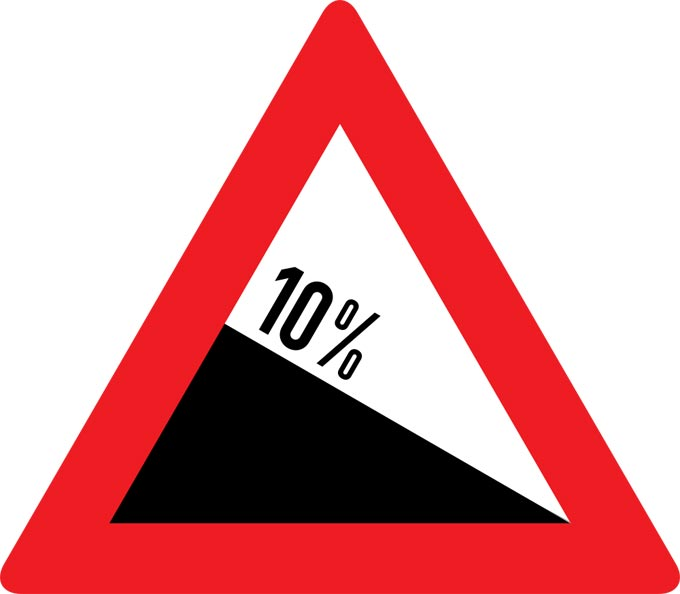 This picture shows a warning sign that indicates a 10% downhill gradient.