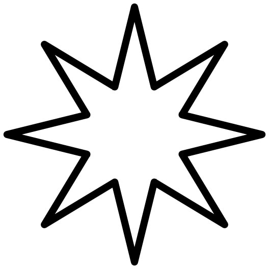 This picture shows an 8 point star drawn with a continuous black line.
