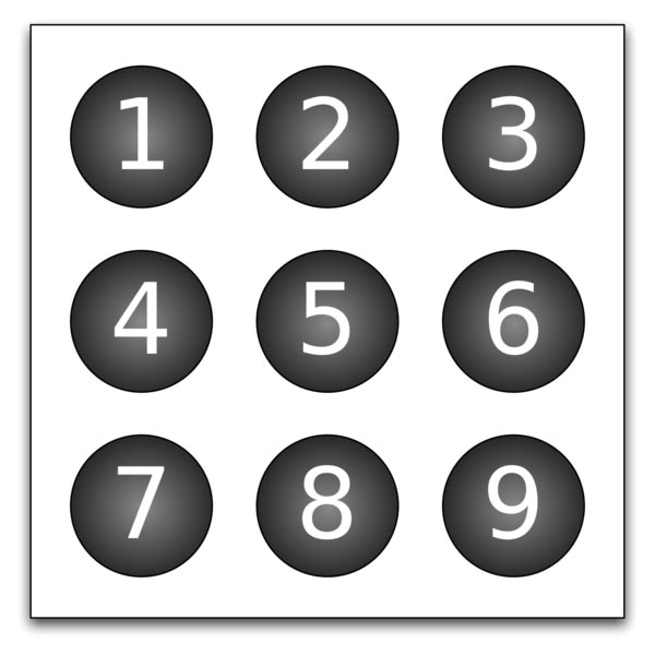 This picture shows number balls in lines of 3 ranging from number 1 through to number 9.