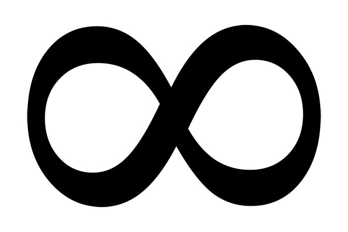 This picture shows the infinity symbol, which looks very much like the number 8 lying down after a hard days work.