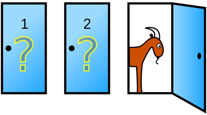 This picture is used to illustrate the Monty Hall problem, where a contestant trying to win a car on a game show is asked if they would like to change their original door choice after the host opens one of the unopened doors to reveal a goat. The contestant has a better chance to win the car if they change doors even if it doesn't seem logical.