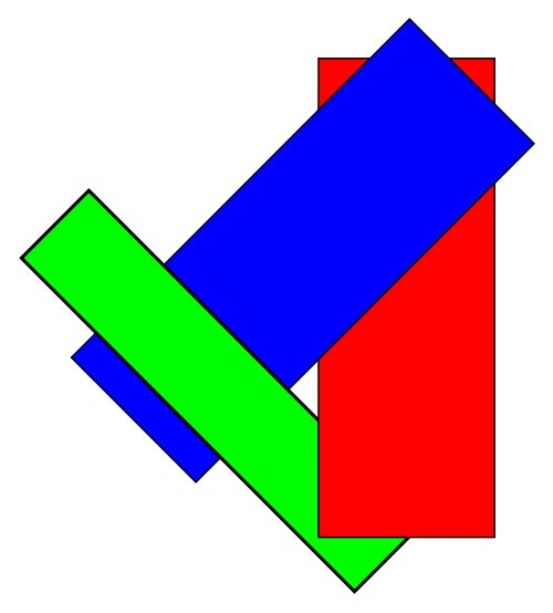 This picture shows three colored rectangles that overlap each other. There is one blue rectangle, one red and one green.