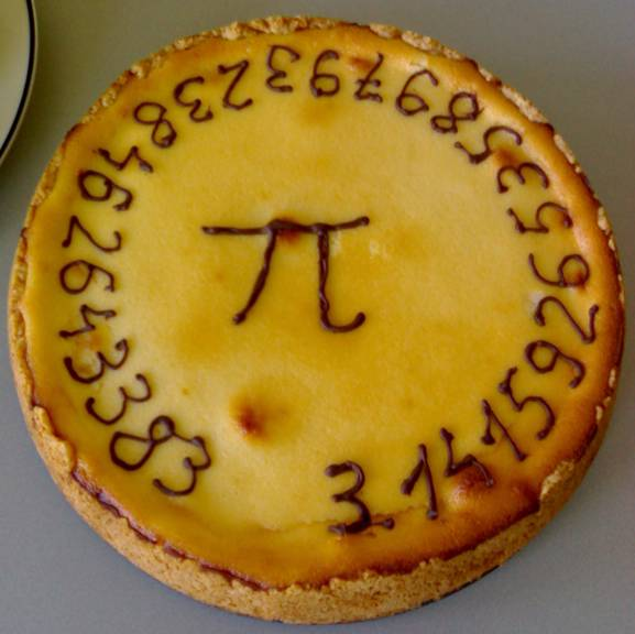 This picture shows a pie celebrating the mathematical value of Pi to 27 decimal places.