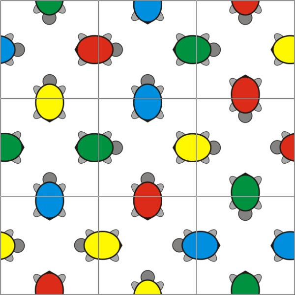 This picture has nine puzzle pieces featuring colored turtles put together as a complete puzzle.