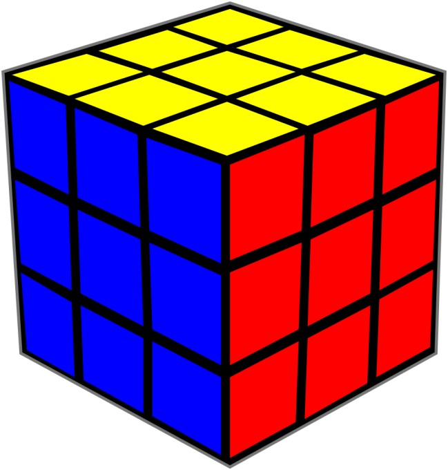 This picture shows three sides of a solved Rubik's Cube puzzle. The Rubik's Cube was invented in 1974 by Hungarian Erno Rubik.