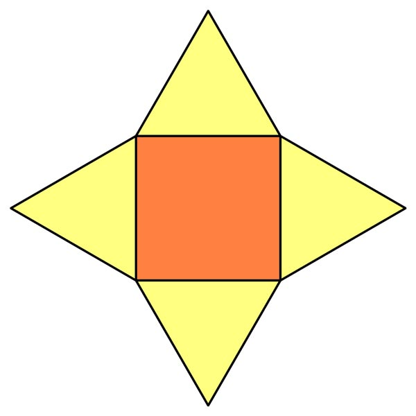 This picture shows a square pyramid net, a 2D shape that represents what a square pyramid would look like if you folded it along its boundaries.
