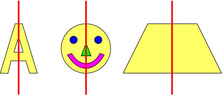 This picture shows different symmetrical patterns including a trapezoid (trapezium), a happy face and the letter A.
