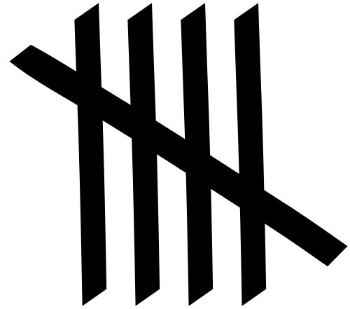 This picture shows a set of 5 tally marks. Tally marks are handy for counting certain sets of results.