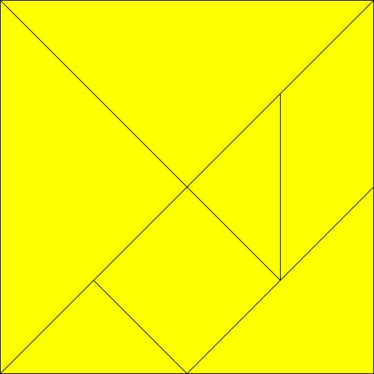 This picture shows a completed tangram puzzle in the shape of a square. Tangram puzzles have 7 pieces which can be put together to form a range of different shapes.
