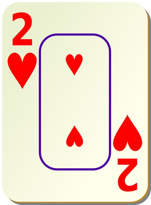 This picture features a large version of the 2 of hearts playing card.