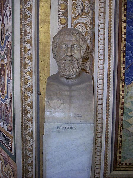 This photo shows a statue of Pythagoras found at the Vatican Museum. Born in 570 BC, Greek mathematician and philosopher Pythagoras of Samos is most famous for the Pythagorean theorem relating to triangles and geometry that bears his name.