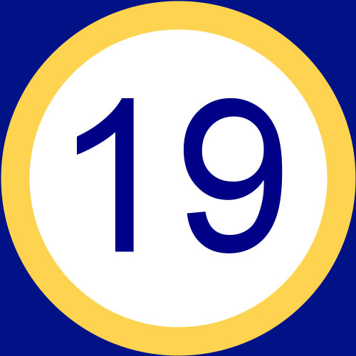 To save this free picture of the number nineteen simply right click on