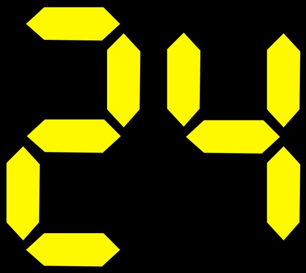 This picture shows the number 24 in yellow digits on a black background similar to that of a digital clock.
