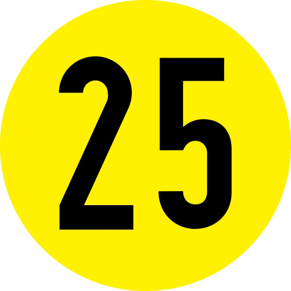 This picture shows the number 25 written in black against the background of a yellow circle.