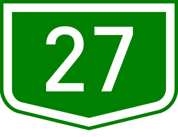 This picture shows the number 27 written in white inside a shield symbol.