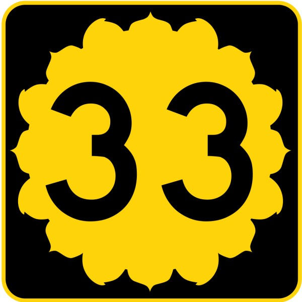 This picture shows the number 33 written in black.