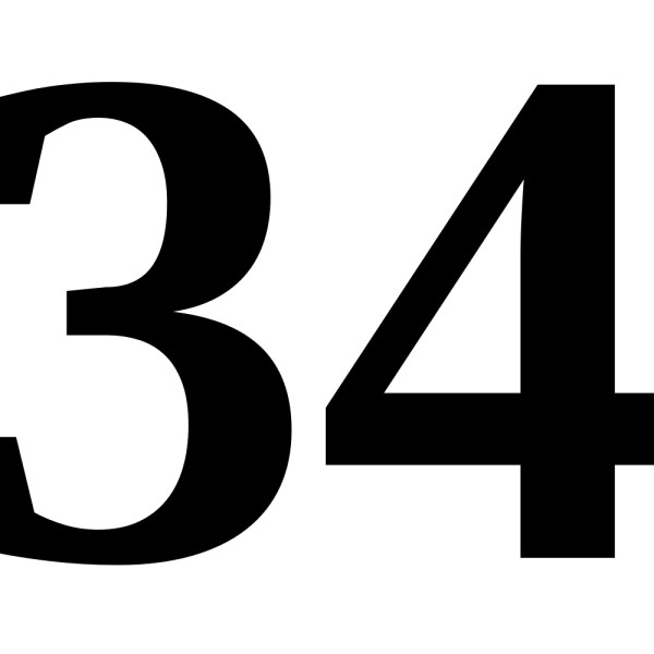 This picture shows the number 34 written in black.