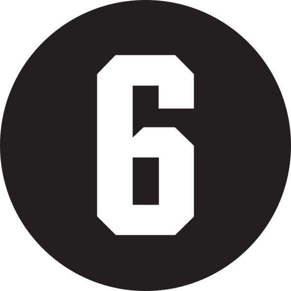 This picture shows a white number 6 inside a black circle.