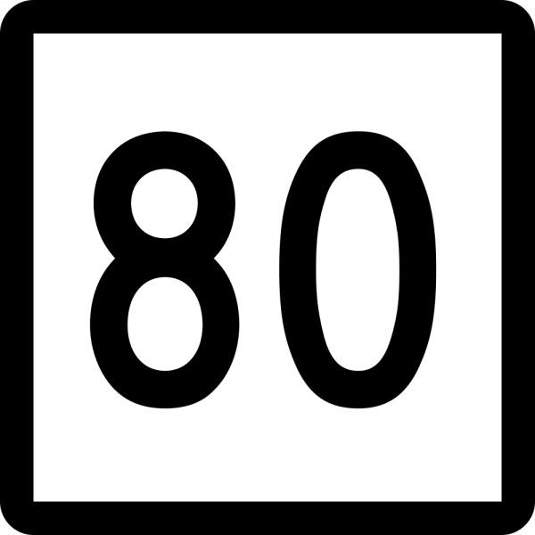 This picture shows the number 80 written in black inside a white square with a black outline.
