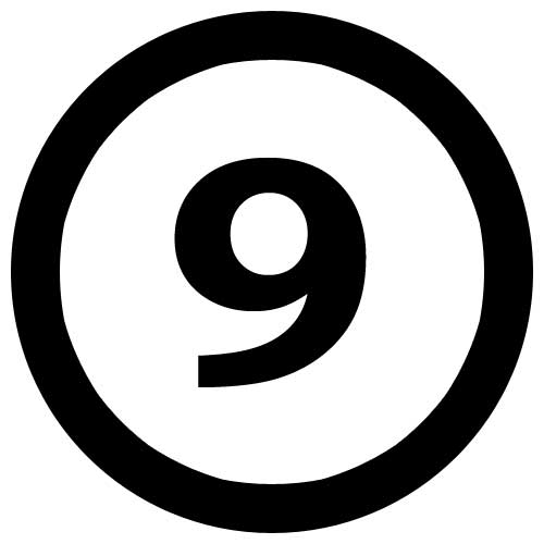To save this free picture of the number nine simply right click on it