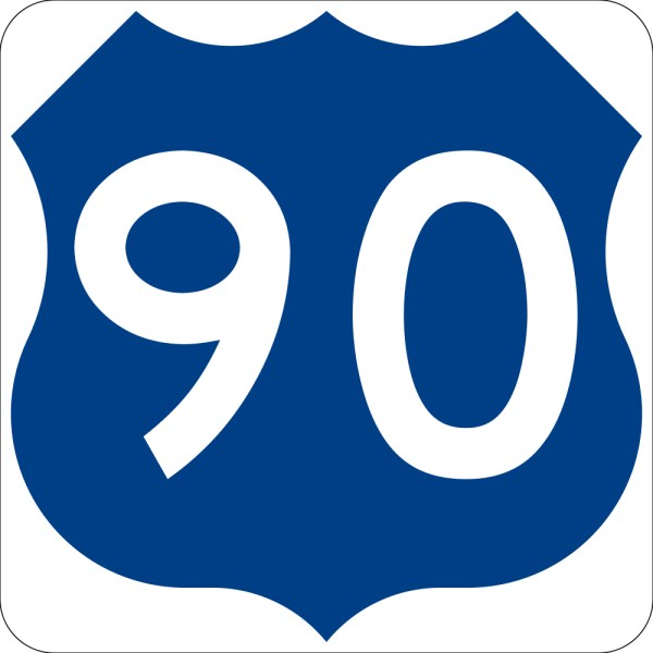 This picture shows the number 90 written in white inside a shield symbol.
