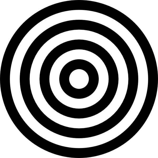 This picture features a circular target with alternating black and white circles.