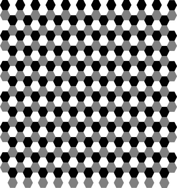 This hexagon pattern features a large number black, white and gray heaxagons put together to form a tessellation.