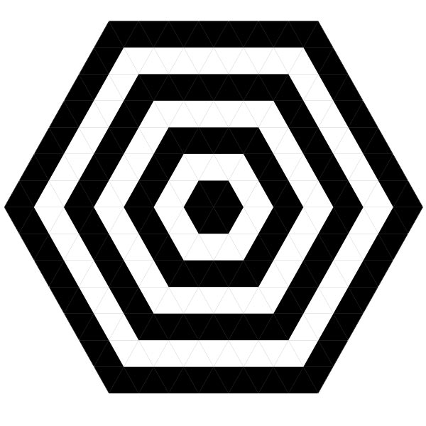 This picture features a hexagonal target with alternating black and white hexagons.