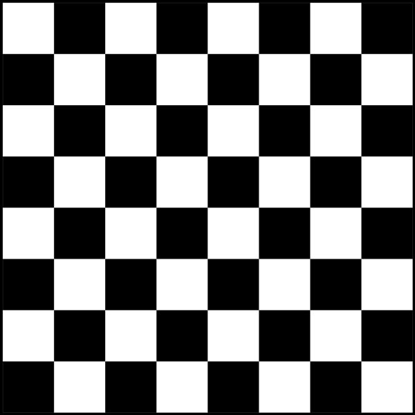 This picture features the simple tessellation, or tiling, of a common chess board with alternating black and white squares making up the larger board.