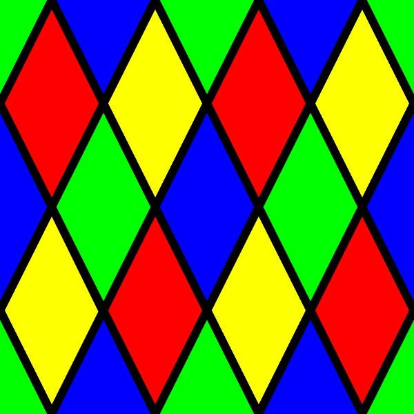 This picture features a pattern of interlaced diamonds put together to form a colorful tessellation.
