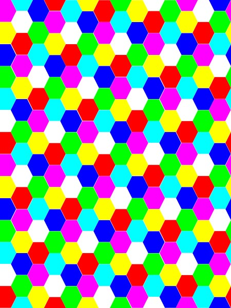 This picture features a pattern of interlaced hexagons put together to form a colorful hexagonal tessellation.