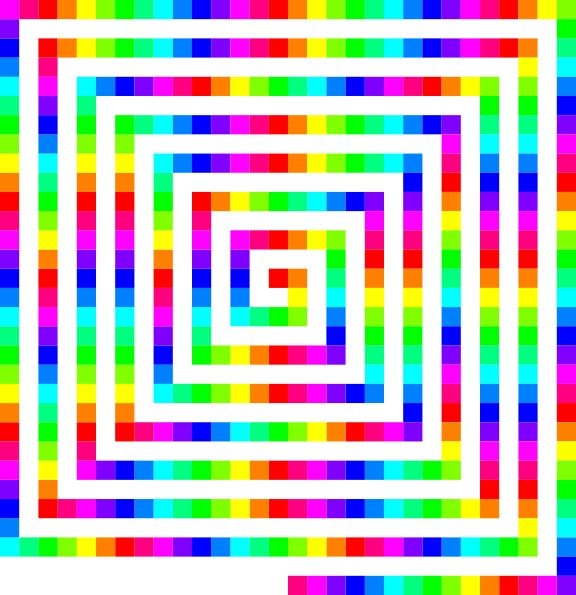 This color spiral is made up of hundreds of colored squares placed next to each other to form a snake shaped spiral pattern.