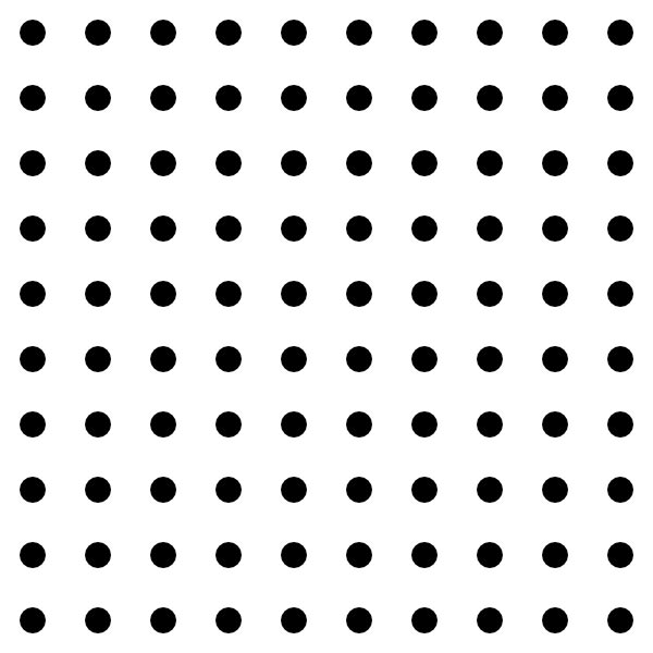 This picture features a square dot grid that measures ten dots in width and ten dots in height.