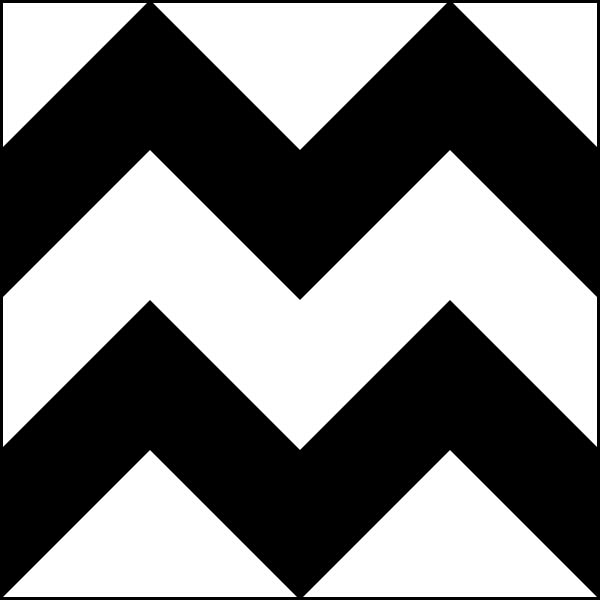 This picture features a horizontal zig zag pattern with two black lines zig zagging their way across a white background.