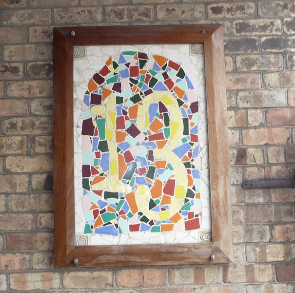 This photo shows the number 13 as part of a mosaic.