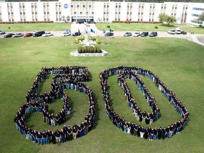 This photo shows the number 50 as created by NASA staff to celebrate NASA's 50th anniversary.