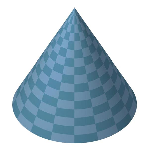 This picture features a cone. A cone is a curved 3D shape with a circular base that narrows toward a point.