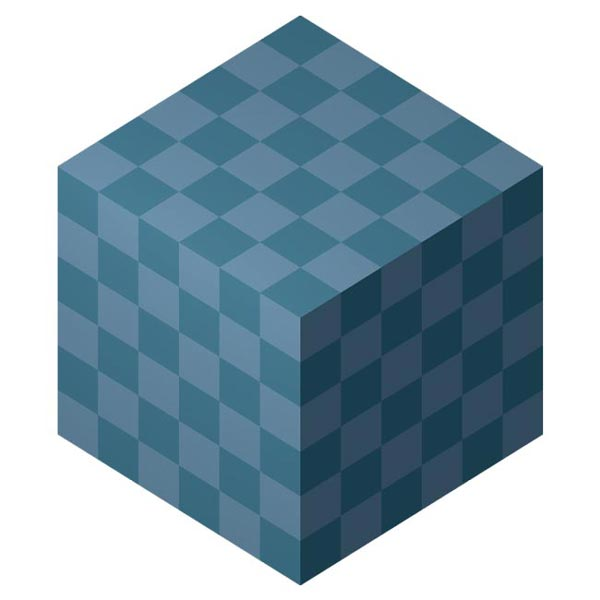This picture features a cube. A cube is a polyhedron featuring all right angles and an equal height, width and depth.
